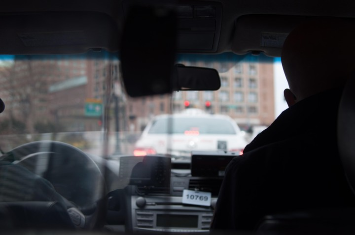 View from inside a Boston taxi