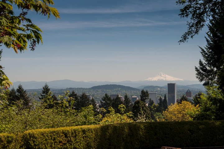 View of mt. Hood from the Japanese Gardens in Portland