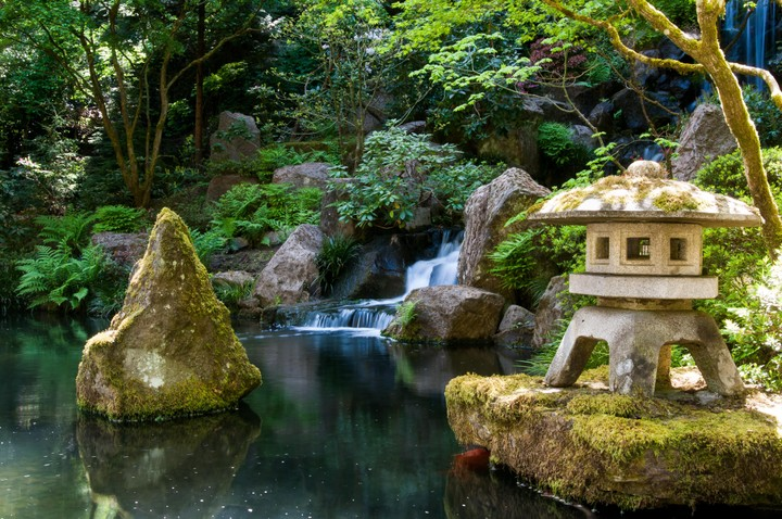 Waterfall in Japanese Garden in Portland